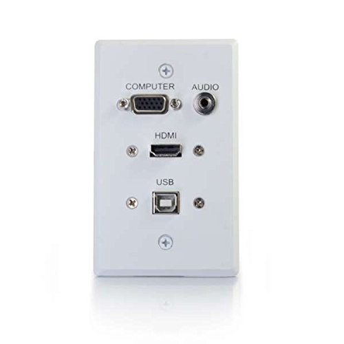 C2G/Cables to Go 39706 HDMI, VGA, 3.5mm Audio and USB Pass Through Single Gang Wall Plate, White