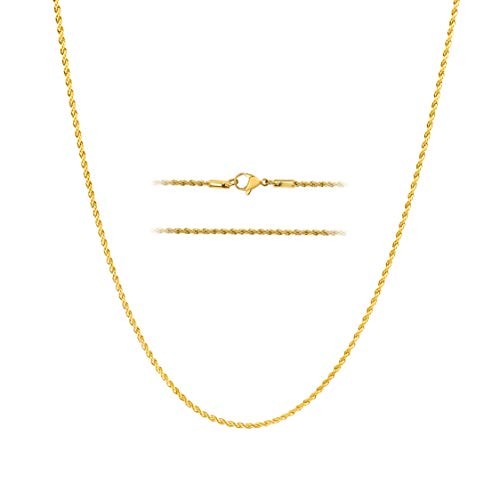 MAJU Designers 18k Gold Over Stainless Steel 2mm Thin Hip Hop Rope Chain Necklace, 14 inch ()