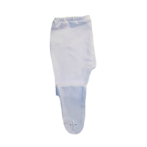 Jacqui's Baby Girls' Tights with Fancy White Cross, Small Newborn