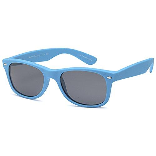 GAMMA RAY UV400 52mm Adult Classic Style Sunglasses – Gray Lens on Matte Blue - Wayfarer Blue Matte