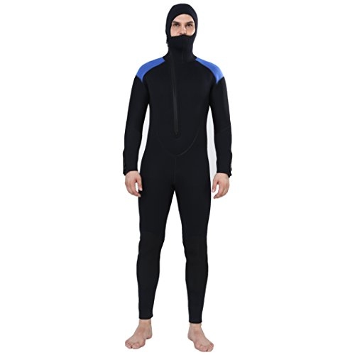 - Realon Wetsuit Men 5mm Scuba Diving Suit Full Suits Hoodie Front Chest Zip Wetsuit Snorkeling Suits Jumpsuit (Medium)