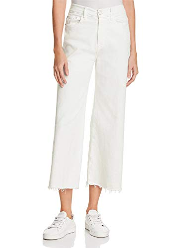 H HIAMIGOS Women Casual Loose Fit Bootcut Jeans Wide Straight Leg Frayed Hem (27, White)