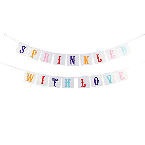 Risehy Sprinkled with Love Banner for Baby Shower,Wedding Party Decorations Color Card Bunting Banner