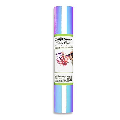 TECKWRAP Holographic Chrome Craft Vinyl 1ftx5ft, Opal White