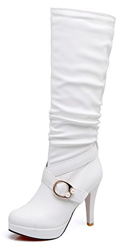 Aisun Women's Elegant Dressy Buckle Strap Almond Toe Pull On High Heels Platform Under The Knee High Boots (White, 8 B(M) US)