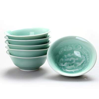 FIOLTY 6p longquan celadon cup 40ml-50ml -split glaze cup China kungfu set hand-painted ceramic cup portable travel set: 6piece by FIOLTY (Image #4)