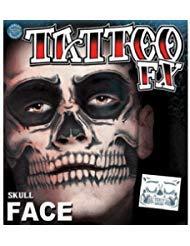 Christien Tinsley Transfers Skull Face Halloween Tattoo Costume Makeup TT-CT411 ()