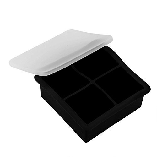 Sunfei Ice Balls Maker Round Sphere Tray Mold Cube Whiskey Ball Cocktails Silicone (Square, Black)