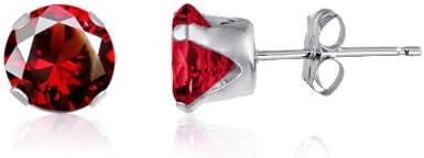 Kezef redondo 7 mm rojo con circonitas granate, 925 Broche de plata de ley Juego de pendientes de tuerca