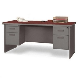 Lorell Double Pedestal Credenza, 72 by 24 by 29-Inch, Mahogany/Charcoal - Radius Edge Double Pedestal Desk