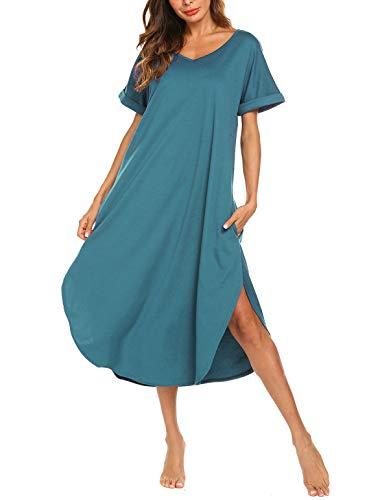 AVIIER Plus Size Sleepwear Woman Long Lounger Comfy Sleep Tee Shirts Dresses(Lake Blue, Large) -