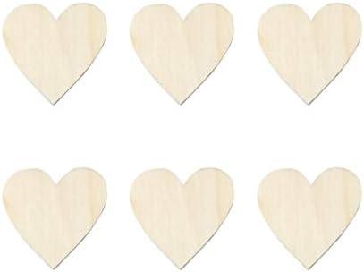 Amosfun 100ピースハート形木製スライスdiy木製クラフト木製ピースウェディングパーティーの装飾バレンタインデー婚約パー
