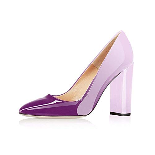 Fericzot Pumps Women Sexy Patent Leather Pointed Toe Block Heels Pumps Gorgeous Evening Party Wedding Stiletto Shoes Plus Size Violet White 11M ()