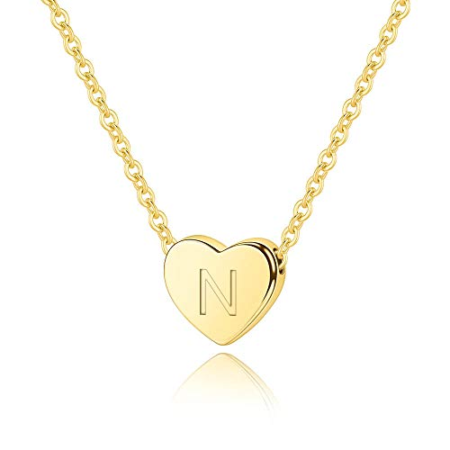 M MOOHAM Initial N Necklace Gifts for Women - 14K Gold Filled Heart Initial Necklace, Tiny Initial Necklace for Girls Kids Children, Heart Initial Necklace Jewelry Best Birthday Gifts for Women Girls