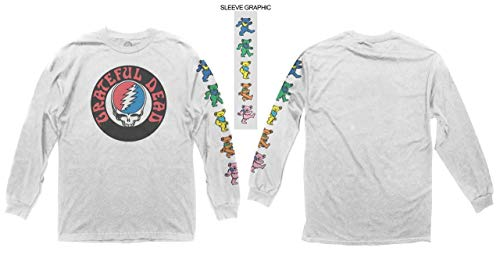 - Ripple Junction Grateful Dead Adult Unisex Logo with Bears Sleeve Hit Heavy Weight 100% Cotton Long Sleeve Crew T-Shirt 3XL White