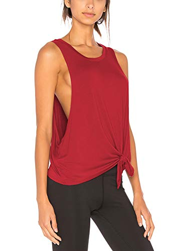 Bestisun Womens Running Tank Tops Muscle Cute Workout Yoga Shirts Sport Active Tank Knit Tees Petite Athletic Jersey Crew Neck Daily Casual Wear Red M