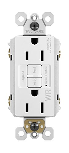 Legrand - Pass & Seymour radiant 1597TRWRWCC4 15 Amp Tamper-Resistant/Weather-Resistant Self-Test GFCI Safety Outlet, White, Matching Wall Plate Included