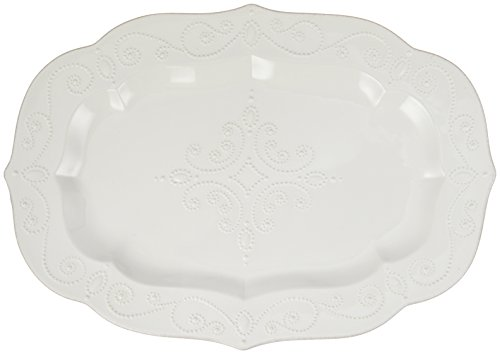 Lenox French Perle Large Serving Platter, (White Large Platter)