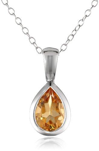 """Citrine Bezel Set Teardrop Pendant Necklace in Sterling Silver, 18"""""""