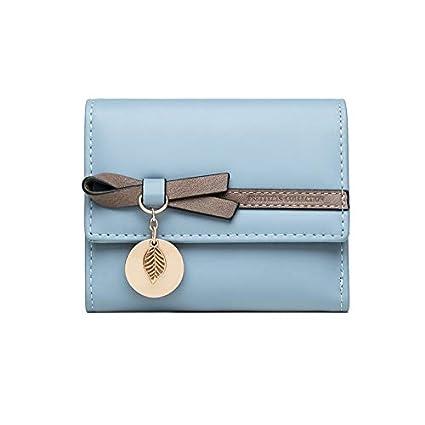 Blu 6 Scomparti per Carte con 1 Finestra Identificazione 1 Sezione Fattura e 1 Tasca con Cerniera Portafoglio Donna Portamonete Squisita in Pelle PU