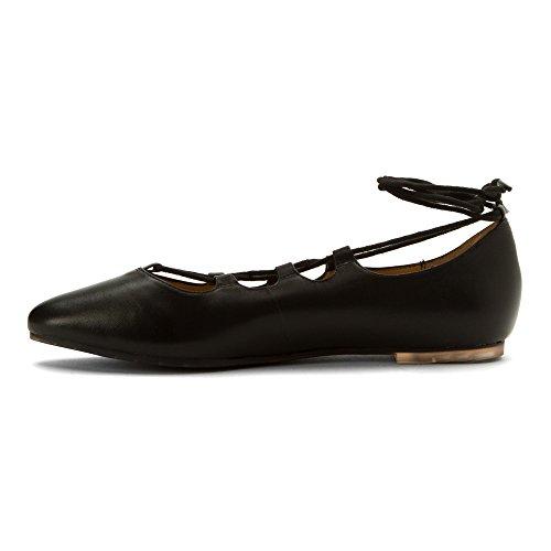 Me Too Kvinna Alani Ghillie Spets Platt Svart Läder