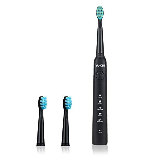 Sonic Electric Toothbrush for Adults 5 Modes 3 Replacement Heads 2 Minutes Smart Timer Power Toothbrush IPX7 Waterproof USB Rechargeable Electronic Toothbrush Travel – Black