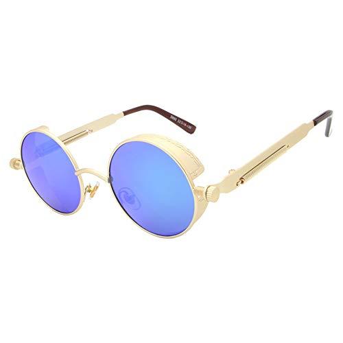 De De Recubrimiento Gafas con Hombre Espejo De para Redondo Gafas Sol Unisex De Sol Blue Mujer Gold Negro Gafas Sol Gafas Steampunk FKSW Oro 5wq7xZza7