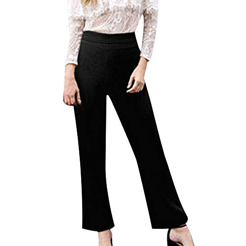 DEATU Ladies Trousers, Womens Solid Mid-Waist Plus Size Loose Straight Fashion Casual Long Pants(Black,XXXL) -