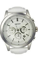 DKNY Sport White Leather Chronograph White Dial Men's Watch #NY1439