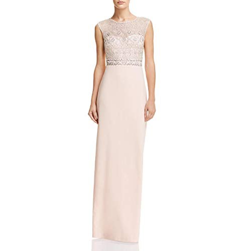 Adrianna Papell Women's Cap Sleeve Beaded Long Dress with Crepe Skirt, Blush, 12