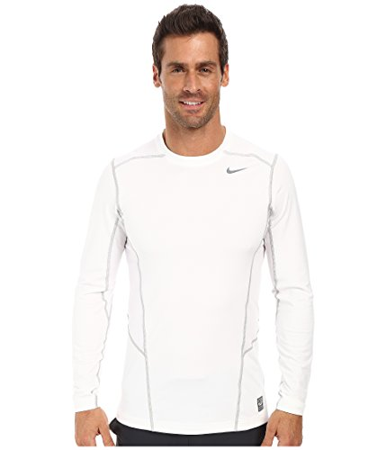 Nike Men's Pro Combat Hyperwarm Lite Fitted Shirt 618984 (Medium, White/Cool Grey)