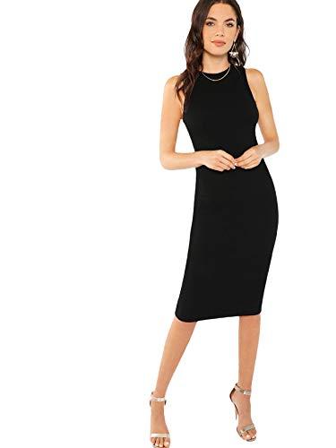 SheIn Women's Basic Sleeveless Round Neck Ribbed Knit Tank Dress Small Black