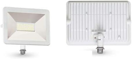 ASD 50W LED Flood Light Outdoor with Arm Mount – 3000K Warm White 5221lm SMD – Super Bright Light Waterproof for Garage Yard Garden Landscape – Super Slim – ETL Listed DLC – White