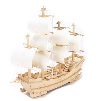 Free 3d DIY Wooden Puzzle Toy or Hobby Decorative Merchant Ship Boat Model for Children