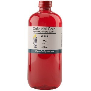 True Colloidal Gold (No Chemicals) - 500 mL of 25 ppm BPA Free Plastic Bottle by Sirius Metals