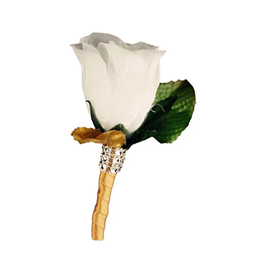 Boutonniere - White Rose with Gold Color Rose Petal, Gold Color Ribbon Stem