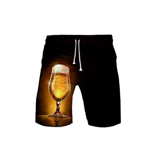 Haozin Lover's 3D Printing Beer Festival Casual Beach Shorts Pants Elastic Drawstring -
