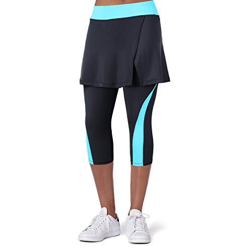 ANIVIVO Women Tennis Legging, Skirted Capri Leggings Tennis Pants for Women& Sports Capri Skirted Leggings Sports Skirted Leggings(Blue,M)