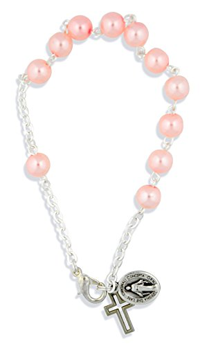 (Vatican Imports One Decade Rosary Bracelet with Clasp and Pearlized Beads)