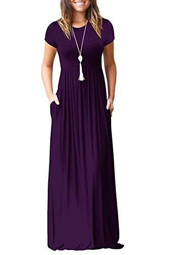 Jennyarn Women Dress Plus Size Casual Short Sleeve Solid Color Long Dress with Pockets XX-Large Purple