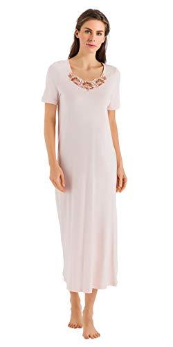 (HANRO Women's Jana Short Sleeve Long Gown 76433, Pearl Blush, Medium)