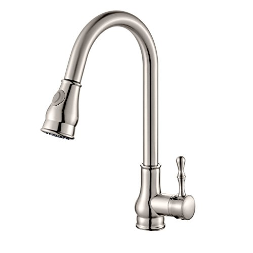 ROVATE Kitchen Faucets with 2-Function Pull-Down Sprayer, Swivel Single Handle Single Hole Pull Out Bar Sink Faucets, Brushed Nickel by ROVATE