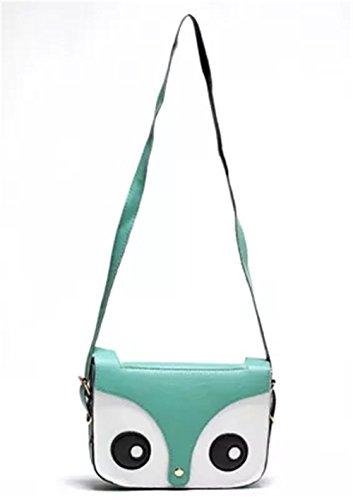 Handbag Retro Cute Fox Crossbody Messenger Leather Shoulder Satchel Sungpunet Owl Bag Pu Green PqAtxTa