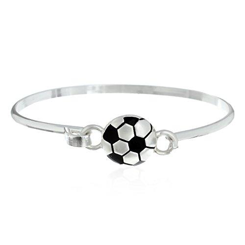 PammyJ Silvertone Soccer Ball Bangle Bracelet -