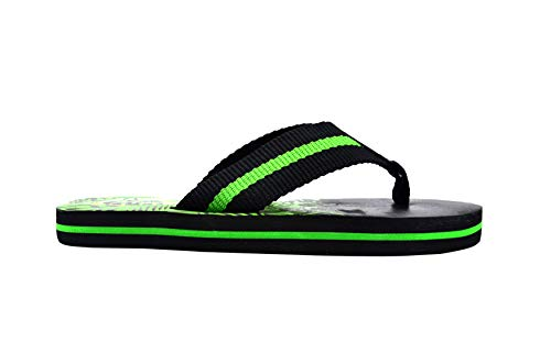 Revo Boys Flip Flops 4-5 M US Little Kid Striped Thong Sandal with Printed Footbed Black Tropical