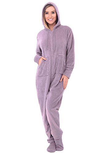 Alexander Del Rossa Womens Warm Fleece One Piece Footed Pajamas, Adult Printed Onesie with Hood