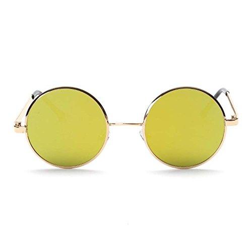 retro sunglasses flat circular metal color film Prince sunglasses (Gold frame yellow lens)