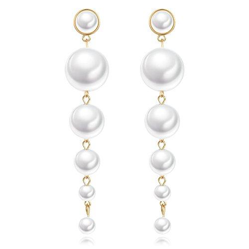 Mutiple Trendy White Dangling Pearl Earrings, Large Long Faux Pearls Drop Stud Earrings Women Jewelry ()