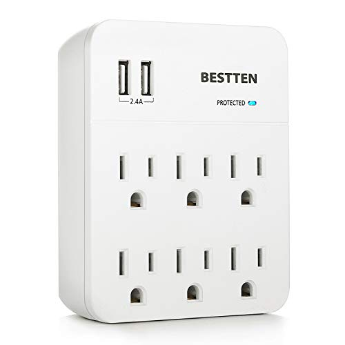 BESTTEN Wall Outlet Surge Protector with Dual USB Charging Ports (5V/2.4A) and 6 AC Outlets, 900 Joules, 15A/125V/1875W, ETL Listed, White