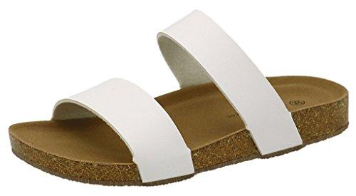AgeeMi Shoes Mujere Plano Sandalias Punta Abierta Verano Zapatos Unisex Adulto Blanco PU (EuL06)